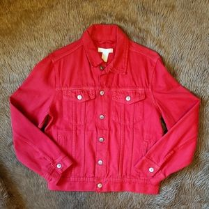 H&M Cherry Red XS Denim Jacket